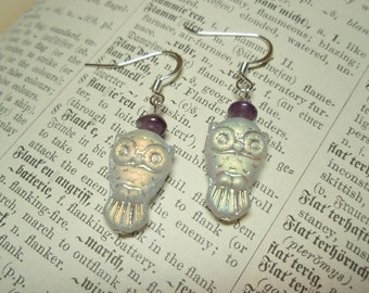 Iridescent White Owl and Amethyst Gemstone Earrings
