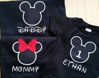 Mickey Minnie Custom Personalized Applique Family Vacation Birthday T Shirt