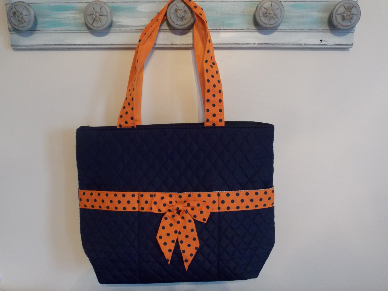 diaper bag 3 piece navy orange polka dot free personalization. Black Bedroom Furniture Sets. Home Design Ideas
