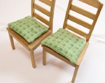 Chair Cushions Pads Green Kitchen 1:12 Dollhouse Miniatures Scale Artisan