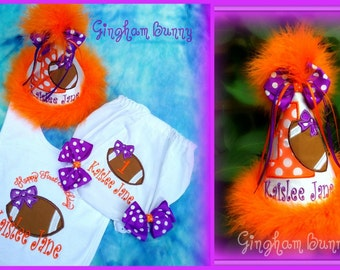 NEW! 3 Pc. FootBall Set, First Birtdhay Hat, Bib and Ribbon Bloomers, ANY Number, Other COLORS available, Great for Cake Smashes!!