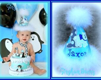 Polar Bear Birthday Hat and TIE.   First Birthday Hat,  1st Birthday Hat, Gingham Bunny