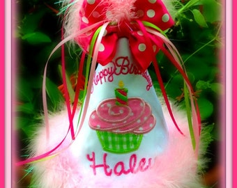 NEW DESIGN, Any Number/Cupcake First Birthday Hat, Boy or Girl, You Choose Colors, by Gingham Bunny Embroidery