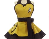 Retro Apron - Command Captain Kirk Trekkie Spock Womans Aprons - Vintage Apron Style - Pin up Trekkie Rockabilly Cosplay