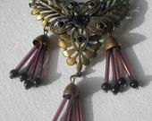 Vintage Art Deco Egyptian Revival Flower Leaf Purple Amethyst Glass Pin