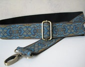 Turquoise and Brown Custom Bag Strap, 2 Inch Width