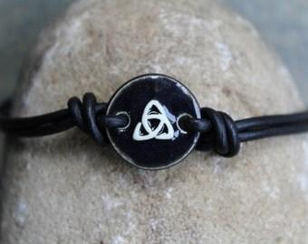 Black Trinity Leather Bracelet