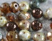SAFARI .. 25 Picasso Mix Czech Rondelle Beads 6x8-9mm (4404-st)