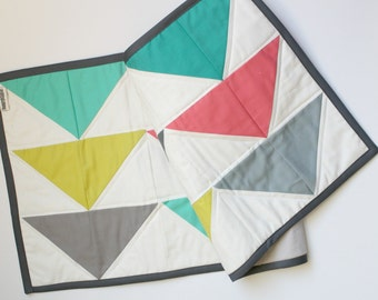 Modern Triangles table runner in Kona solids and ash grey