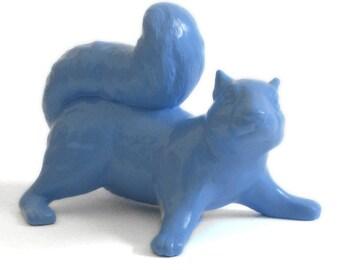 Ceramic Squirrel, Climbing, Coastal Blue, Indoor/Outdoor Art Sculpture, Garden Ornament, Figurine,