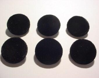 """6 Black Silk Velvet 7/8"""" Covered Buttons"""