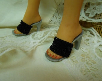 Doll Shoes> Custom Made High Heel- Silver or Black Bling Elastic Strap