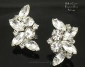 Crystal Rhinestone Earrings Vintage Wedding Bridal Earrings Large