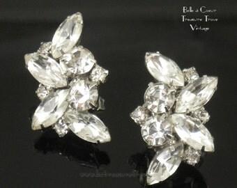 Crystal Rhinestone Vintage Wedding Bridal Earrings Large