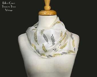 Silk Rayon Scarf White with Black and Gold Leaves Branches A Susan Smart Creation Hand Rolled