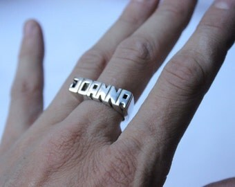 Word Personal Ring, Sterling silver, Signet ring, Name Ring, Initials ring, Monogram Ring 5 or 6 Letters, Fast shipping