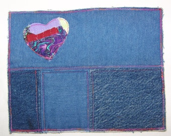Scrappy Heart Quilted Mug Rug or Denim Blue  Coaster #8