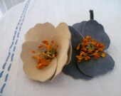 Head Full Of Flowers - Cluster of Two - Blue and Cream Suede Leather Poppies Dress Clip
