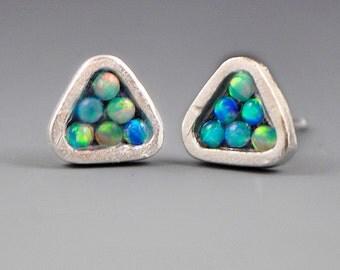 Triangle Mosaic Stud Post Earrings