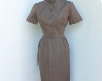 Vintage 1950s LANZ ORIGINAL Wiggle Dress / Brown Secretary Dress