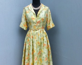 1950s Yellow Shirtwaist Dress w/Matching Belt by Campus Casuals of California / Polished Cotton / Bombshell
