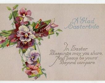 Easter vintage postcard, Easter postcard,  Pansy covered cross,  Easter ephemera vintage postcard, SharonFosterVintage