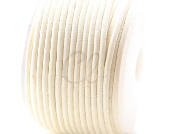 25 Meters of Round Wax Cotton Cord - Ivory 2mm (707)