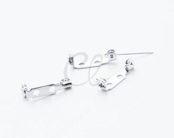 20pcs White Gold Tone Bar Pins - Glue on Brooch Pins - Safety Pins - 0.75 Inch