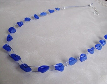 Sea Glass Necklace - Whimsical Beach Glass Necklace - Cobalt Blue Sea Glass