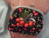 50% OFF - PURSE Handbag Handmade by Me Cherries Beaded Fringe - Handmade Handbag - Black, Red and White