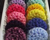 6 - All Nylon, Multi-colored, 2 Ply,  Crocheted, Scrubbies