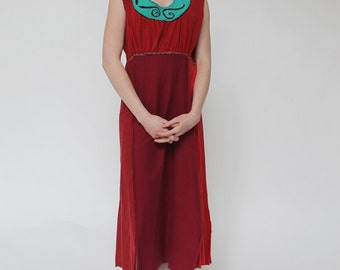 Empire Waist Summer Dress - made with Recycled T-Shirts, Peek A Boo Embroidery, 100% Cotton