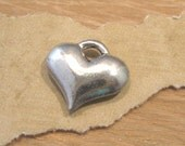 Puffy Antique Pewter Heart Charm from Quest Beads and Cast