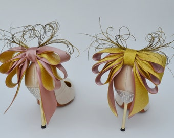 Bridal Shoe Clips for the back of your shoes Gold and Dusty Pink Set of Two. More colors available