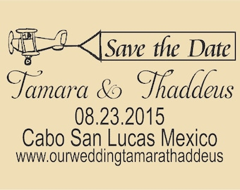Save the Date Custom Rubber Stamp Tamara and Thaddeus  WR0014