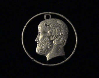 Greece - cut coin pendant - w/ Aristotle, Greek Philosopher, student of Plato, teacher to Alexander the Great. - 1988