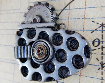Chrome No.1 Industrial / Steampunk Flat Heart - Necklace / Pendant