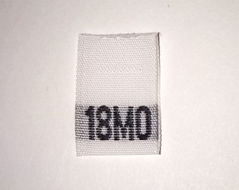 Size 18 mo Months (Eighteen) Woven Clothing Size Tags (Package of 1000)