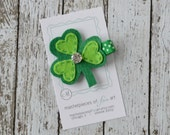 LIMITED EDITION St. Patricks Day Shamrock with Rhinestone Felt Hair Clip - Emerald Green Clover Felt Hair Bow - Holiday Non Slip Grip Clip