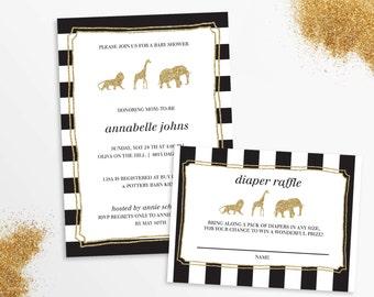 Glitter Safari invitation