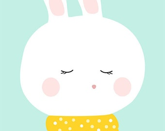 Cute bunny - nursery art wall decor - digital print - 8x10 on A4