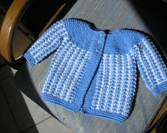 Baby Sweater in Blue and White