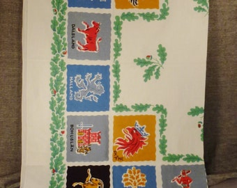 SWEDEN SOUVENIR  TBLECLOTH 1950s Printed Commemorative Coat of Arms   51 x 46 inches great condition