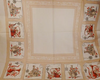 Vintage Eames era Linen TABLECLOTH  linen  printed  Mid Century table settings condition 50 x 46  red beige white
