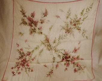 SILK Scarf SPRING Fruit tree blooms branches  design  app 31x31 inches silk and rayon Japan hand hemmed Edges 36 X 34 in
