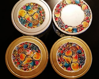 4  Small Ball Quilted Glass Lidded Fruit Pattern Jars