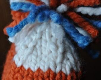 Striped Chunky Knit Hat - Baby Boy Pom Pom Hat - Newborn Twins Photo Prop - Photography Prop Boy - Sky Blue - Pumpkin Orange - Ivory White