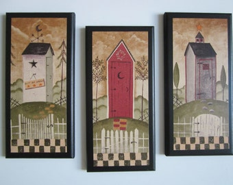 Outhouses for country bath, moon & star, Rustic Lodge Wall Decor outhouse farmhouse plaques bathroom