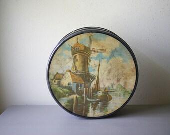 Dutch Cookie Tin with Windmill Scene | Round Storage Container | Kitchen Decor | 1930's Dutch Landscape