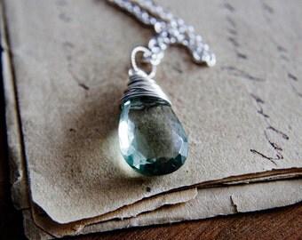 Gemstone Necklace, Amethyst Necklace, Green Amethyst, February Birthstone, Birthstone jewelry, Mint Green, PoleStar, Perfect Gift
